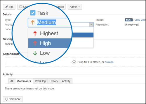 Jira High Low Priority Screenshot