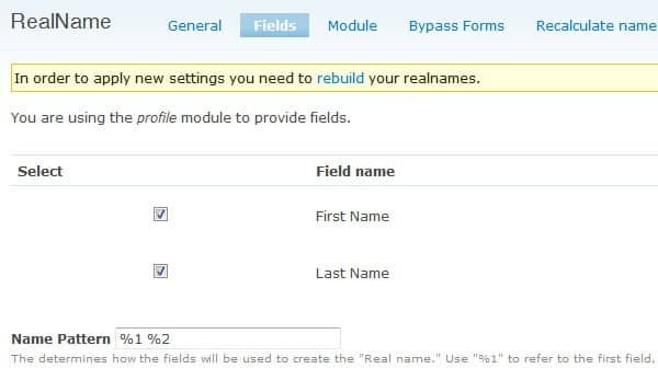 Configuring the RealName module in Drupal - Part 3