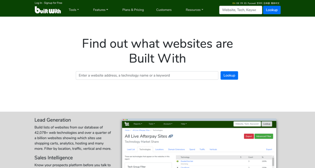 BuiltWith.Com Competitor Research Tool