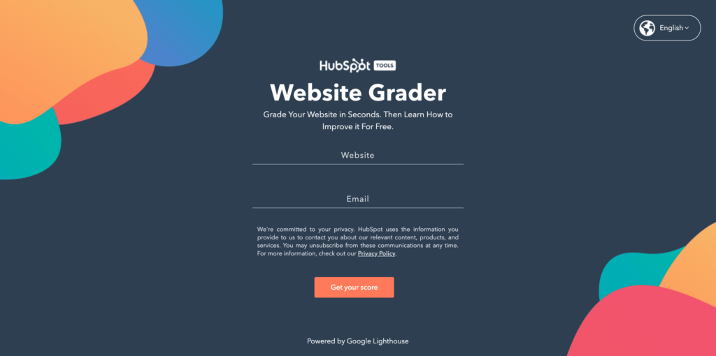 Hubspot Website Grader Competitor Research Tool