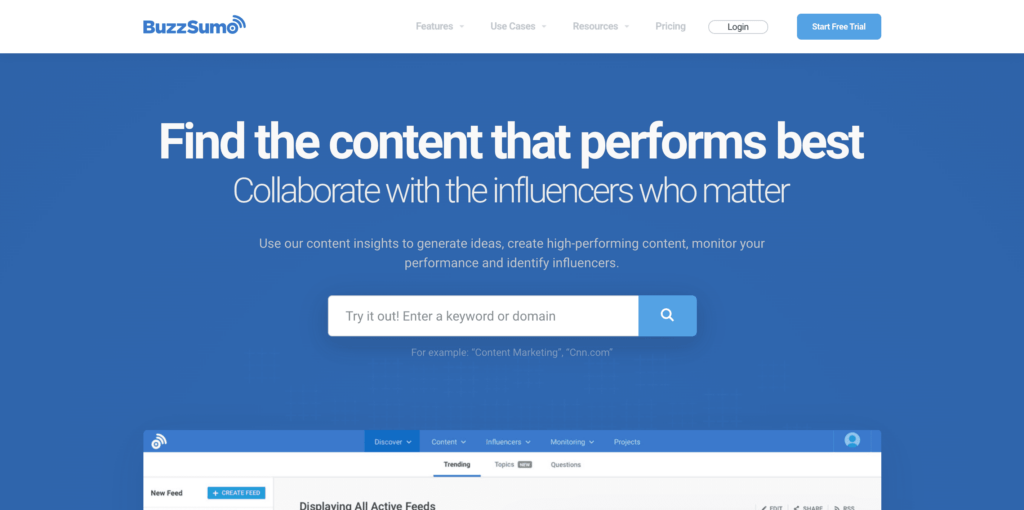 Buzzsumo Competitor Research Tools