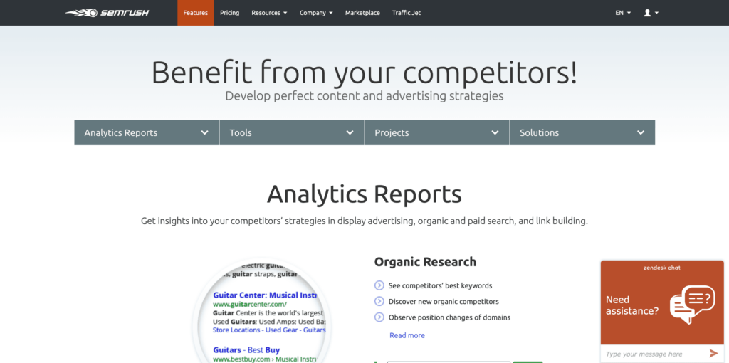 SEMrush Competitor Research and SEO Tool