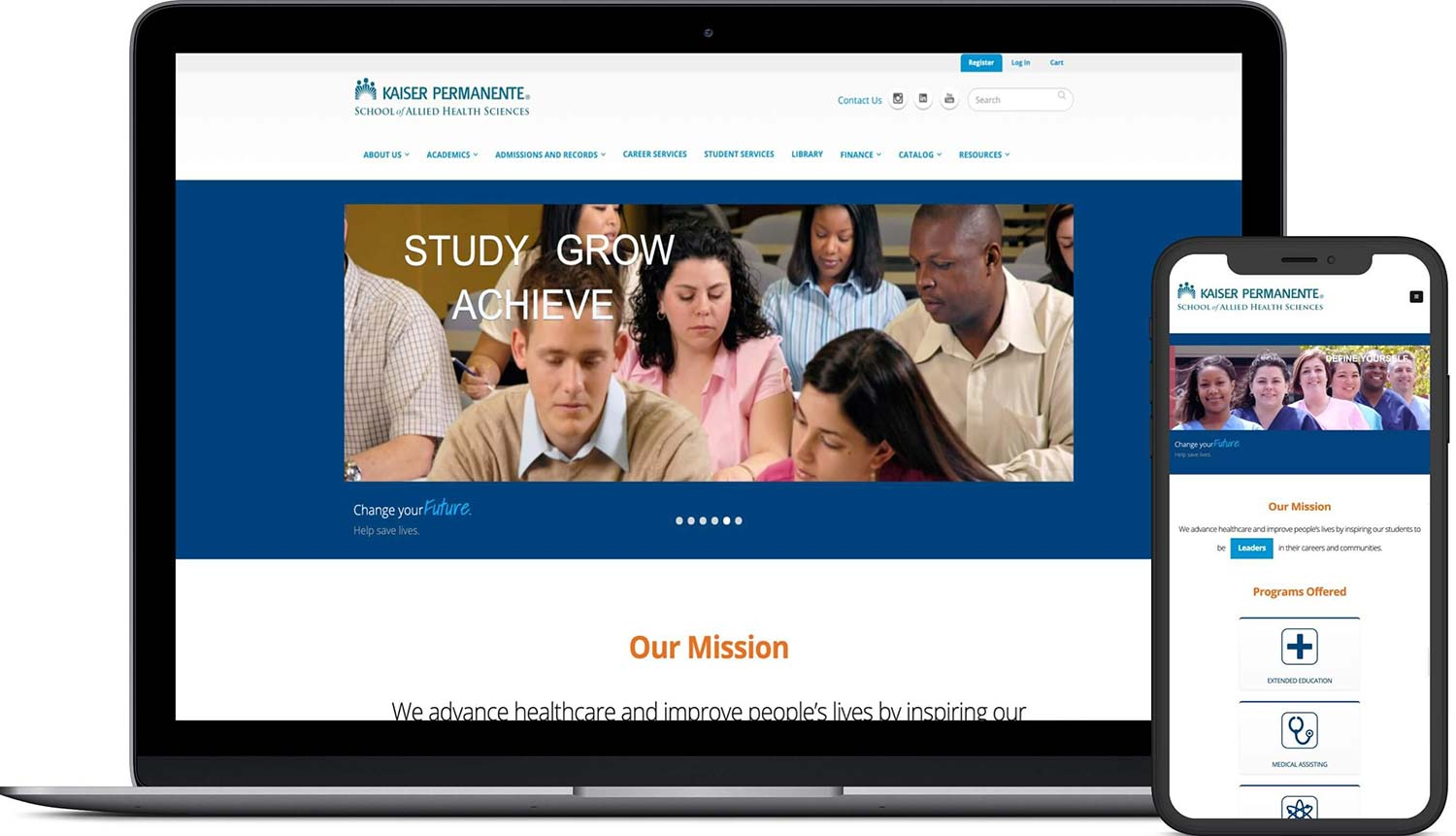 Kaiser Permanent School of Allied Health Sciences website screens on apple macbook laptop and iPhone X smartphone