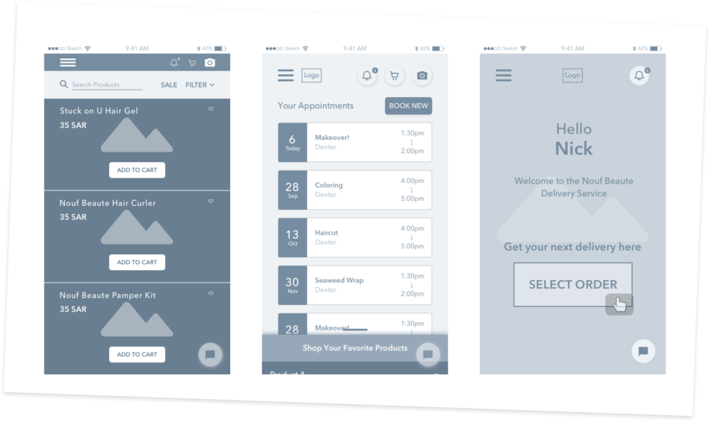 High quality wireframes for the Ora Cosmetics mobile application