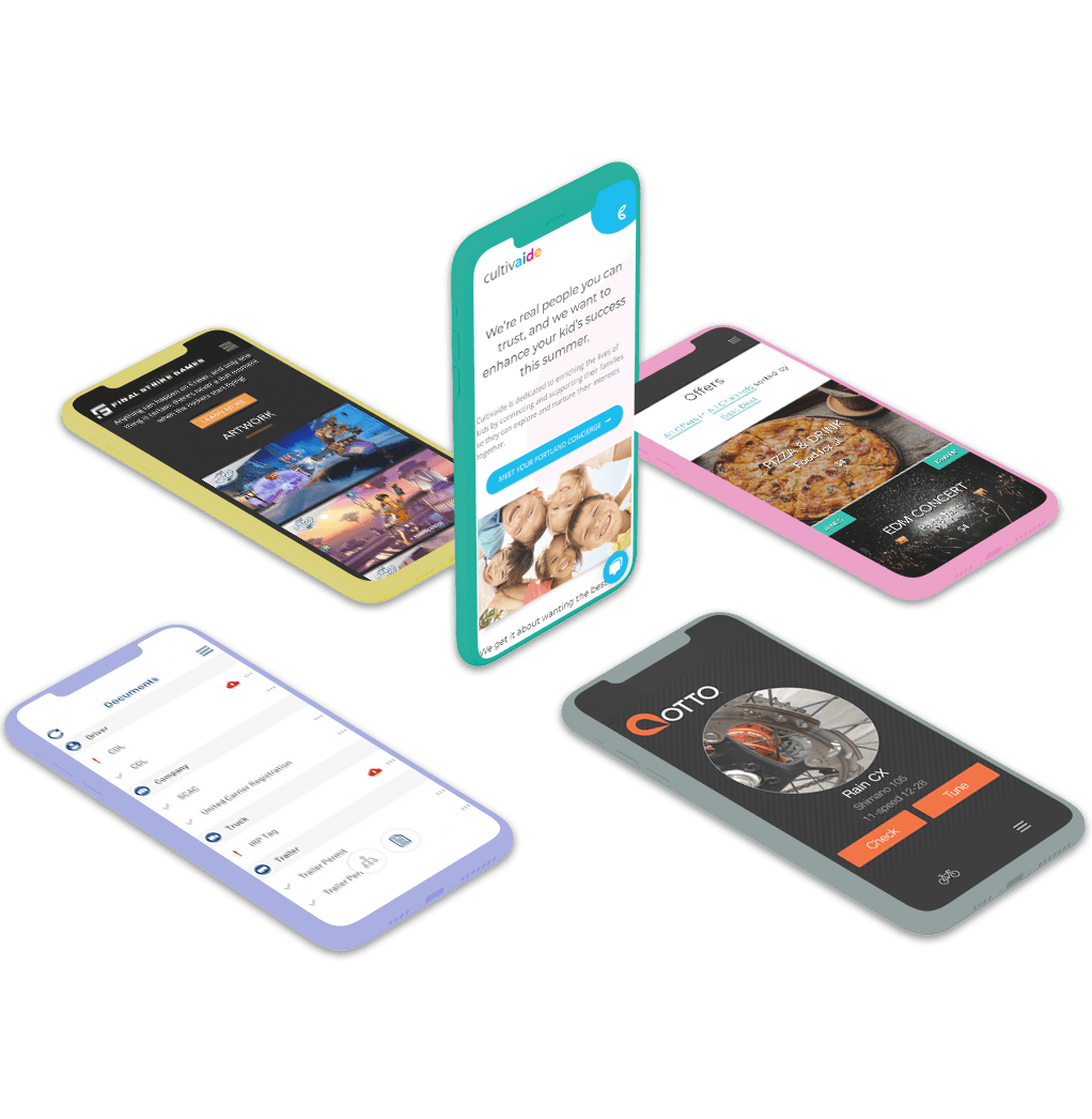 Mobile applications on iPhone Xs